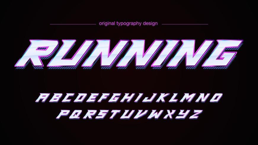 Typographie abstraite chrome de sports de vitesse vecteur