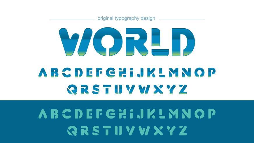 Typographie arrondie bleue rétro chrome vecteur