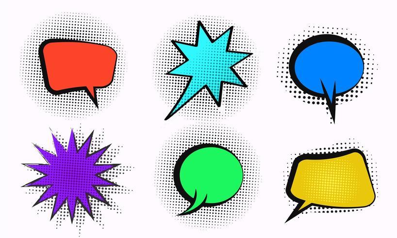Bulle de dialogue bande dessinée de vecteur sertie de demi-teintes