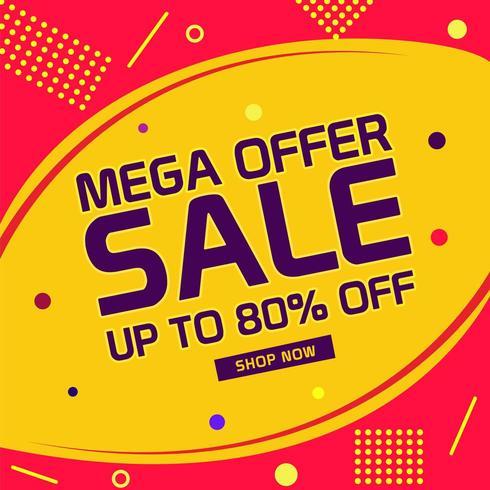 Mega offre vente design avec abstrait vecteur