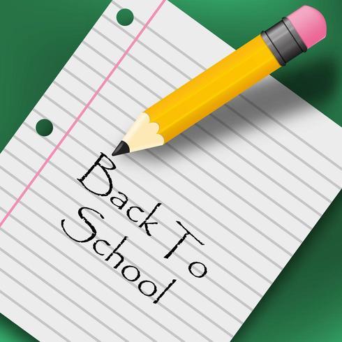 Message de retour à l'école avec un crayon et du papier vecteur