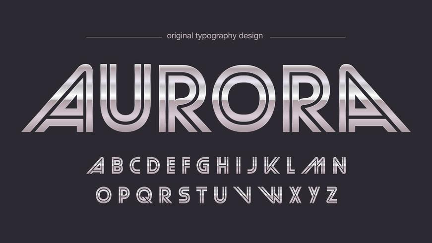 Typographie de sports rétro en acier chromé vecteur