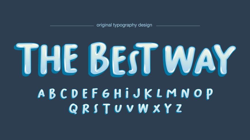 Typographie de bulle de dessin animé manuscrite bleue vecteur
