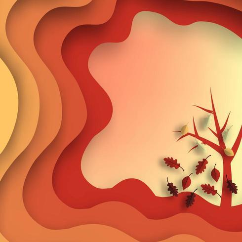 Conception de papier coupe automne avec arbre vecteur