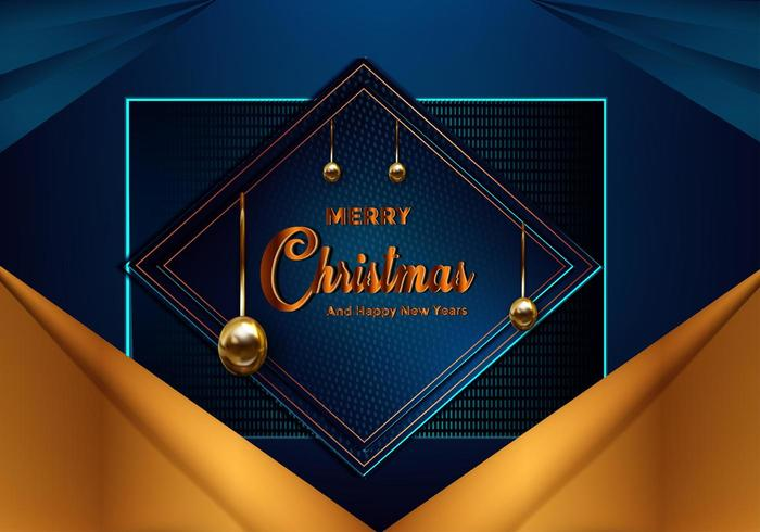 Fond bleu de Noël avec bordure dorée vecteur