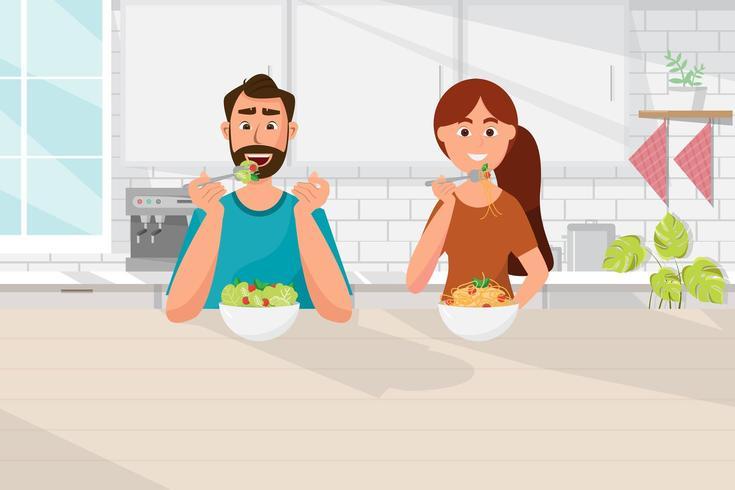 couple mangeant ensemble vecteur