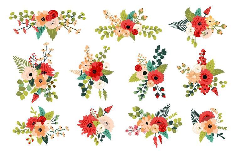 Arrangements floraux de printemps décoratifs vecteur