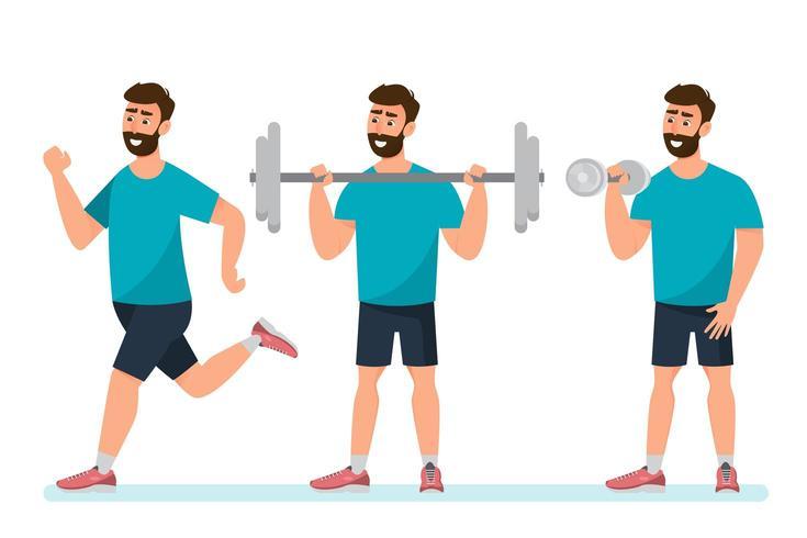 ensemble d'exercices homme dans la salle de sport vecteur