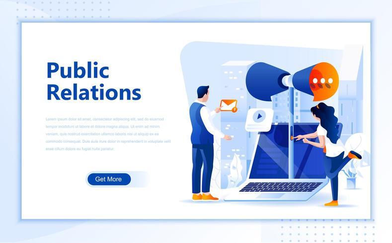 Conception de pages Web plates de relations publiques vecteur