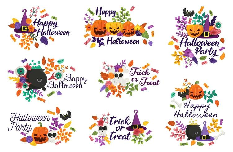 Happy Halloween badges, étiquettes, décorations vecteur