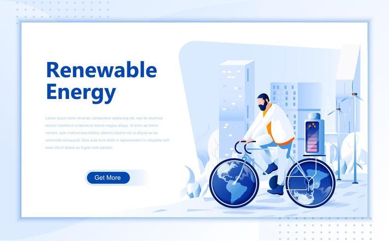 Conception de pages Web plates à énergie renouvelable vecteur