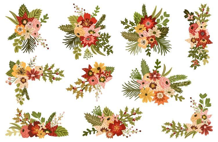 Décorations florales d'hiver vecteur