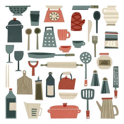 Fournitures de cuisine dessinés à la main vecteur