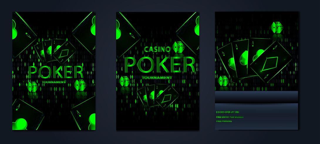 tournoi de jeu de casino affiche jeu de cartes vecteur