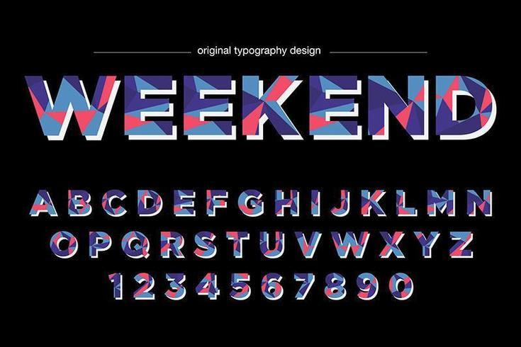 Typographie colorée Low Poly vecteur