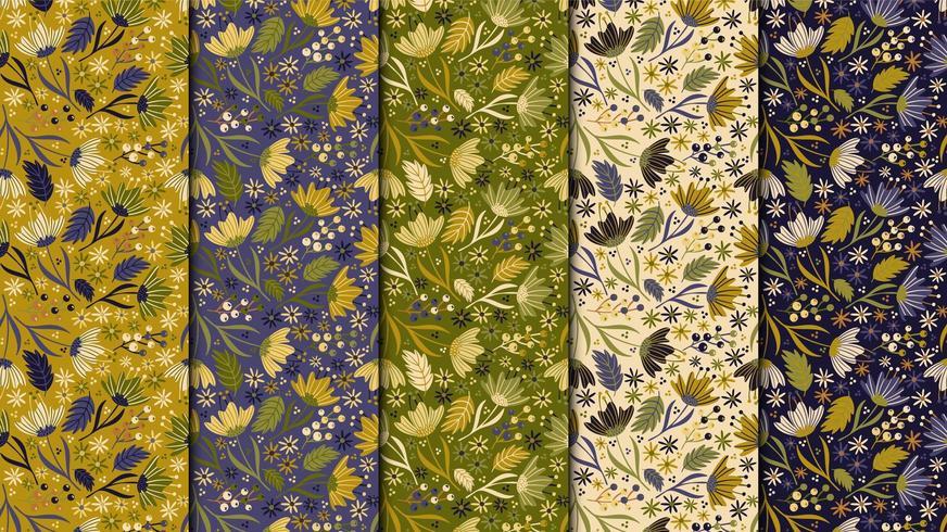 Modèle sans couture de fleurs vintage vecteur