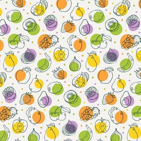 Modèle sans couture de fruits sains dessinés à la main vecteur