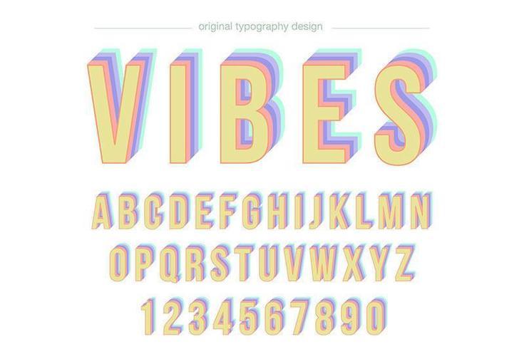 Typographie colorée vintage Disco vecteur