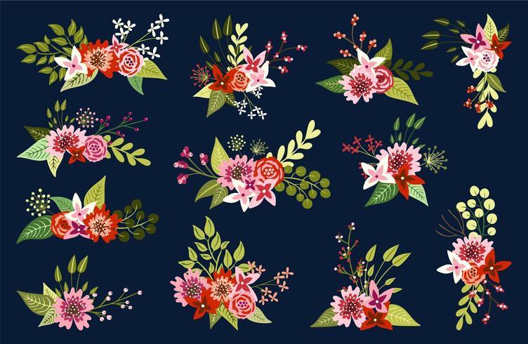 Arrangements floraux sur fond sombre vecteur