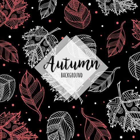 Fond de feuilles d'automne coloré main dessinée Drawn vecteur