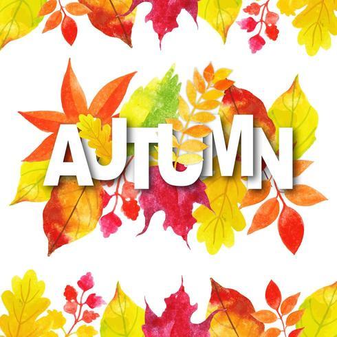 Typographie automne aquarelle avec cadre de feuilles vecteur