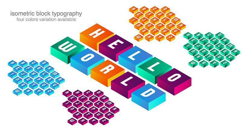 Typographie de cubes isométriques colorés vecteur
