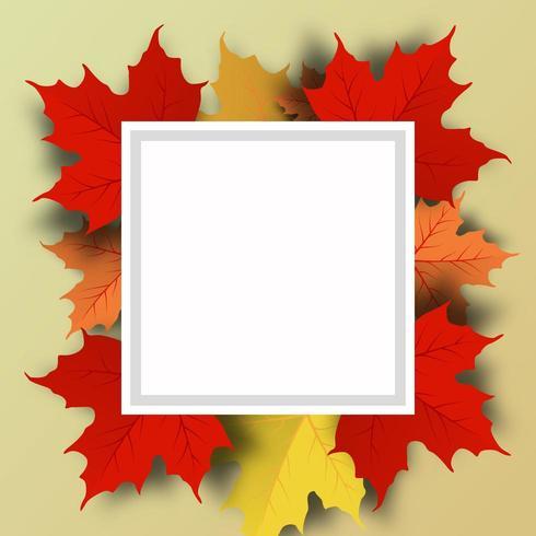 Feuilles d'automne fond avec cadre carré vecteur