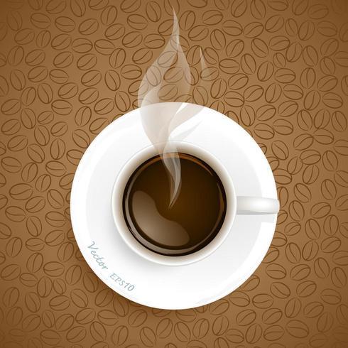 Tasse de café sur fond de grains de café vecteur