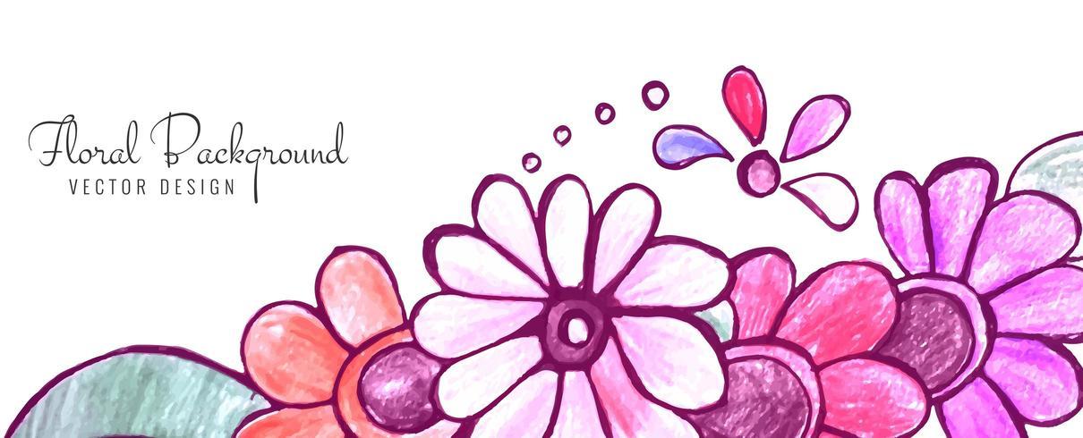 Conception de bannière floral décoratif abstrait coloré vecteur