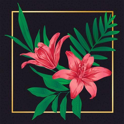 Belle fleur floral vintage feuille nature vecteur