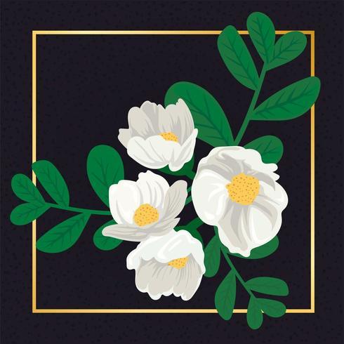 Belle fleur blanche florale vecteur