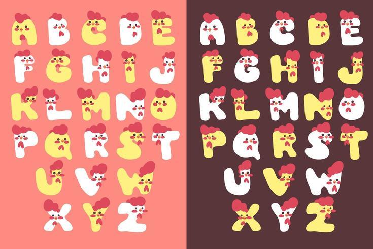 jeu de polices alphabet poulet mignon vecteur