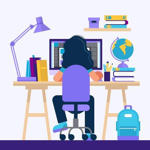 Fille assise au bureau, apprendre avec un ordinateur vecteur