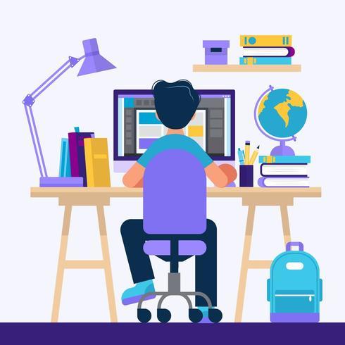 Garçon assis au bureau, apprendre avec un ordinateur vecteur