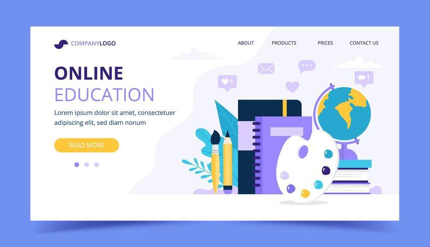 Page de destination de l'éducation en ligne avec différents objets d'étude vecteur