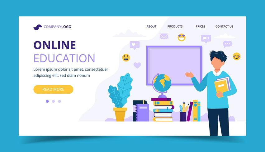 Page de destination de l'éducation en ligne vecteur