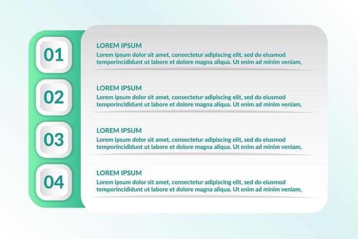 liste conception infographique avec 4 listes pour le concept d'entreprise vecteur