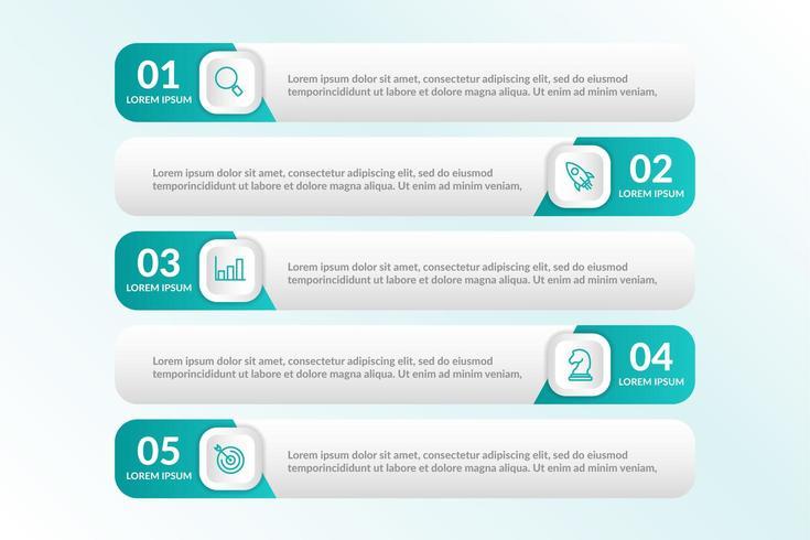 liste conception infographique avec 5 listes pour le concept d'entreprise vecteur