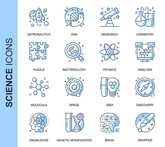 Blue Thin Line Science Ensemble d'icônes connexes vecteur