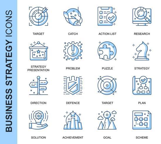 Ensemble d'icônes liées à la stratégie commerciale de ligne mince bleu vecteur