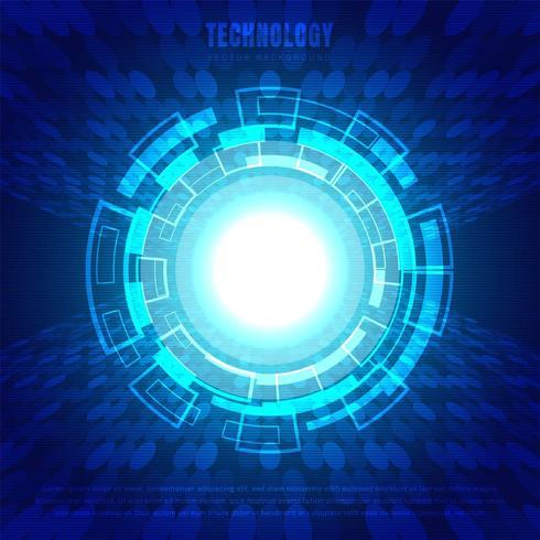 Cercle abstrait technologie numérique fond bleu vecteur