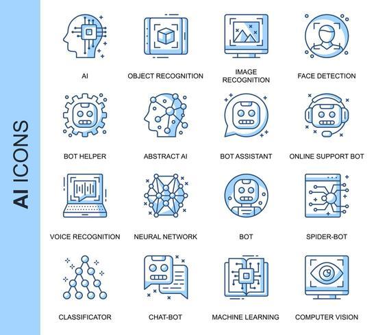 Blue Thin Line Artificial Intelligence Ensemble d'icônes connexes vecteur