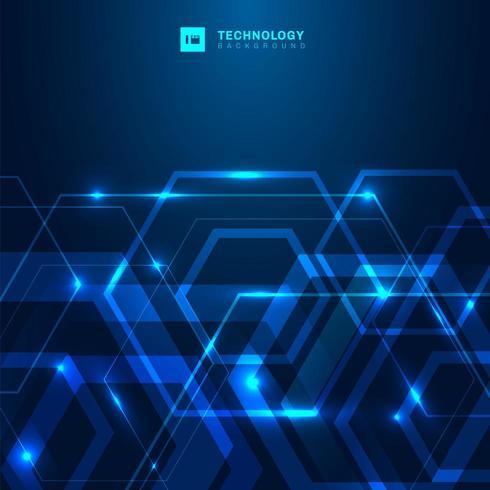 forme hexagonale géométrique avec technologie de lumière rougeoyante vecteur