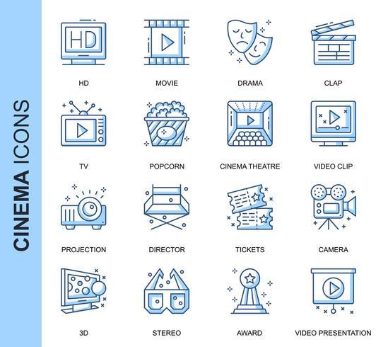 Blue Thin Line Cinema Ensemble d'icônes connexes vecteur