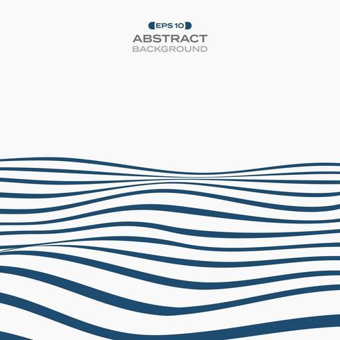 Abstrait bleu foncé ondulé rayures op art de fond vecteur