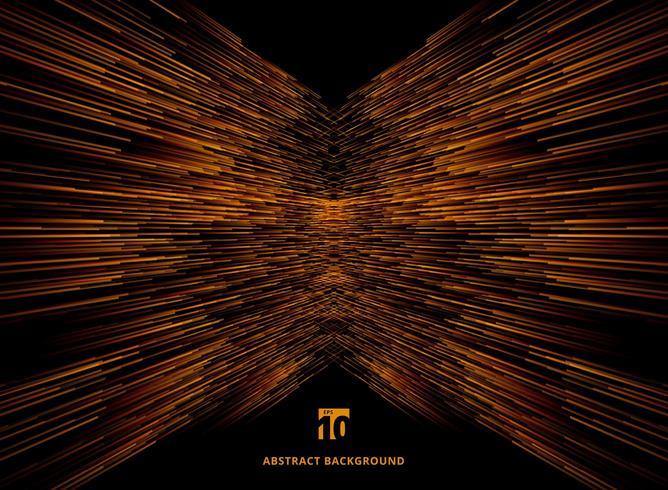 Connexion vitesse perspective de lignes orange sur fond sombre. vecteur