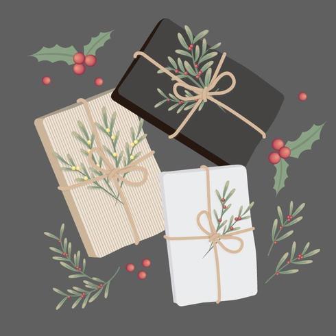 Ensemble de cadeaux de Noël vecteur