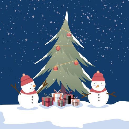 Fond joyeux Noël bonhomme de neige vecteur