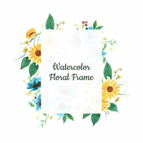 Cadre floral de tournesol vecteur