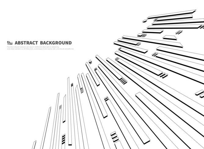 Modèle abstrait de rectangles en retrait noir et blanc vecteur